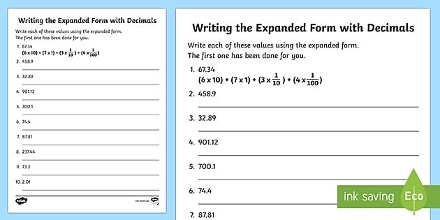 Writing The Expanded Form With Decimals Activity