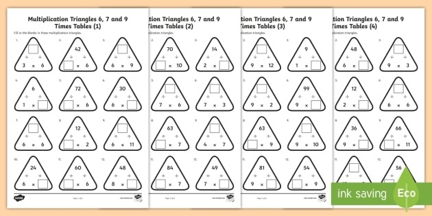 Year  Multiplication Triangles    And  Times Tables Activity