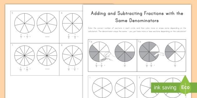 Adding And Subtracting Fractions Same Denominator Worksheet