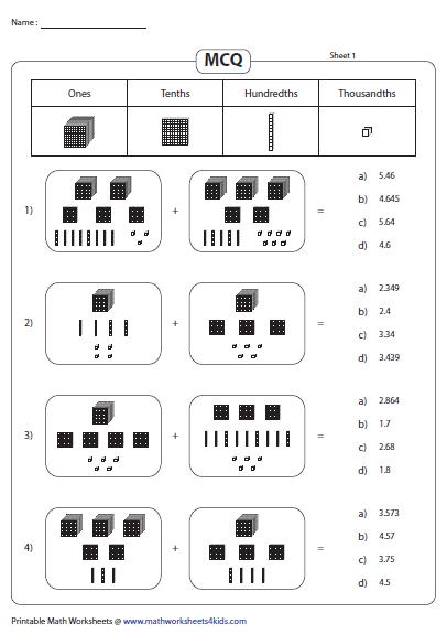 Adding Decimal Blocks Mcqs