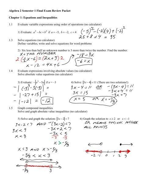 Algebra Semester Final Exam Review Packet Chapter Worksheets