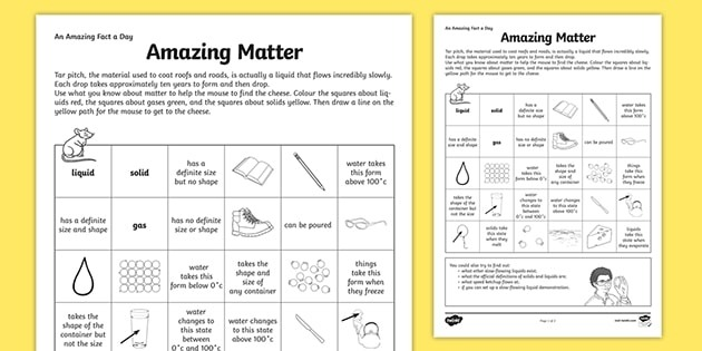 Amazing Fact A Day Worksheet States Of Matter