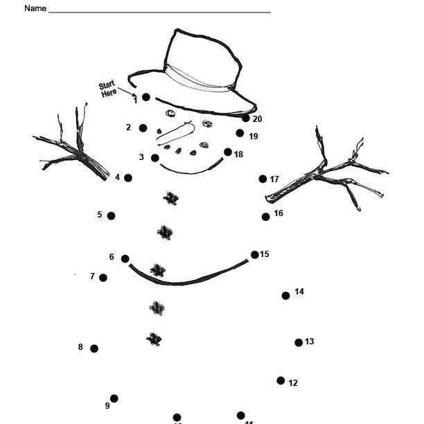 An Easy Free Printable Snowman Dot To For Christmas Holiday