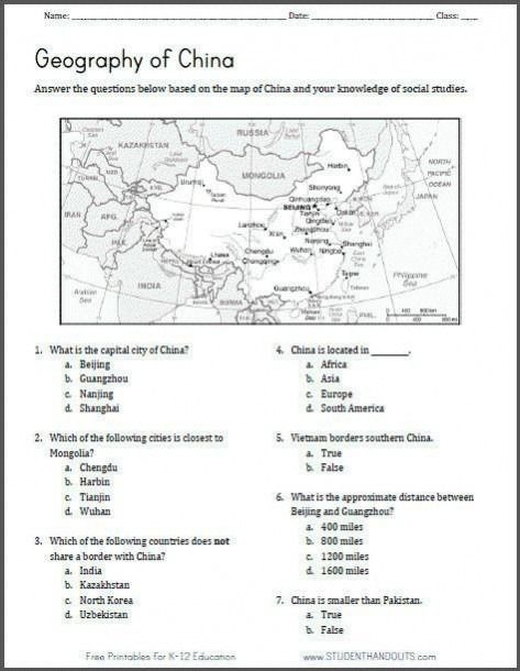 Asia Worksheets Grade  In