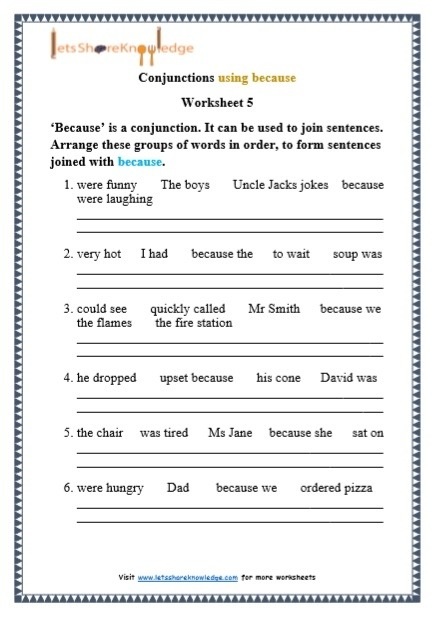 Basic Operations Worksheet Year  Conjunctions Worksheets Letter
