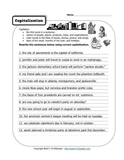 Capitalization Free Printable Punctuation Worksheets Practice K