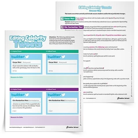 Celebrity Tweets Worksheet For Revising And Editing Practice