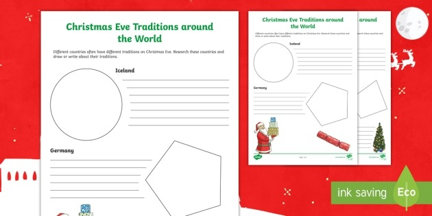 Christmas Eve Traditions Around The World Ks Worksheet