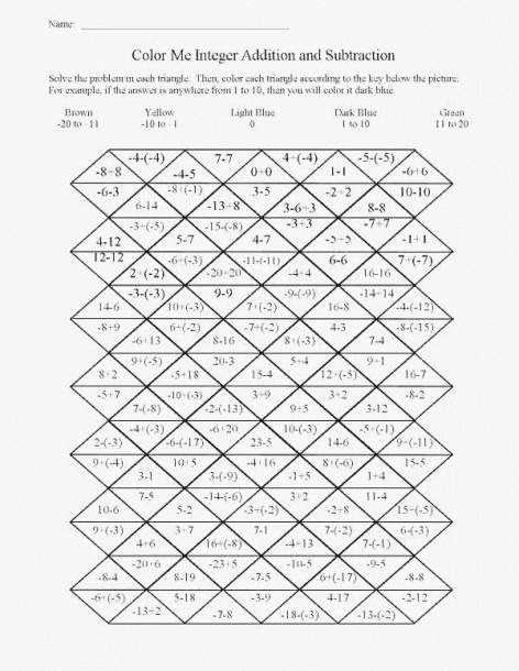 Christmas Math Worksheets For Middle School Integers High Area Of