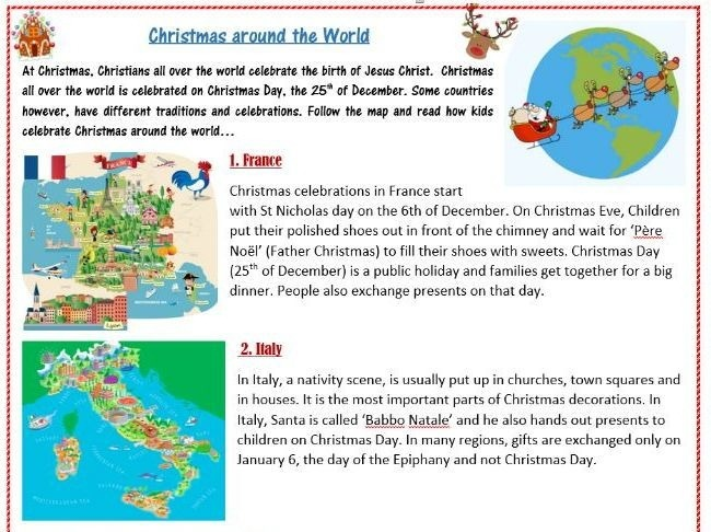 Christmas Traditions Around The World Worksheet In Other Countries