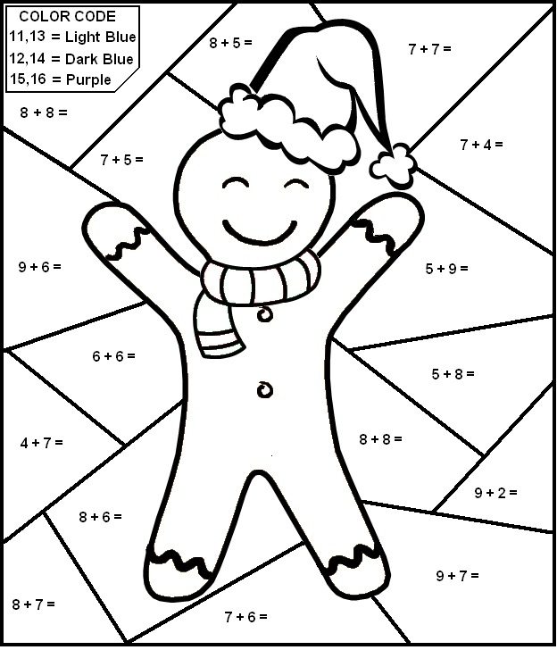 Christmas Worksheet Color By Number Math For Kids First Grade