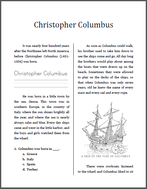 Christopher Columbus Workbook For Grades
