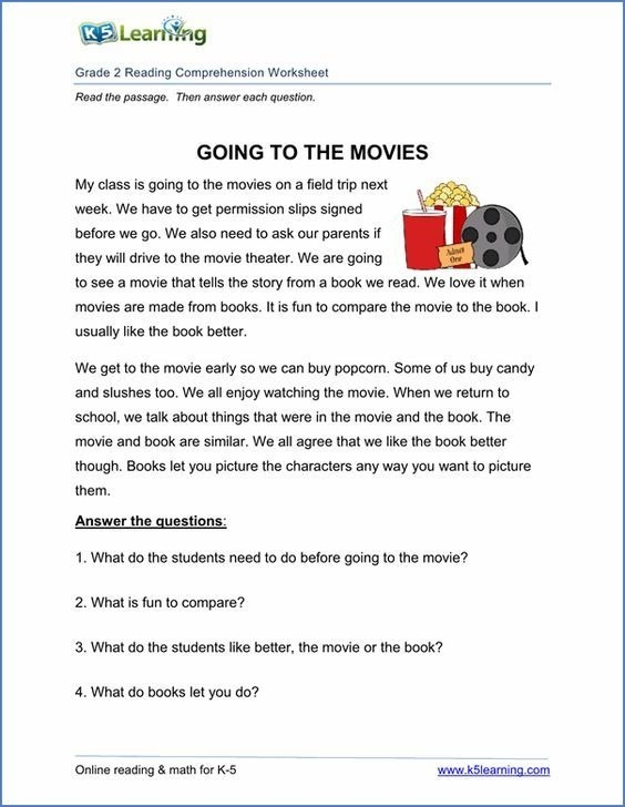 Comprehension Passages For Grade  With Questions And Answers Free