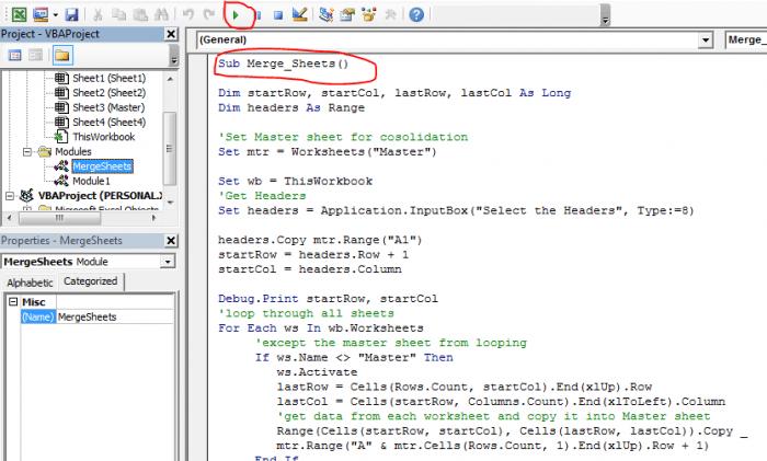 Consolidatemerge Multiple Worksheets Into One Master Sheet Using Vba