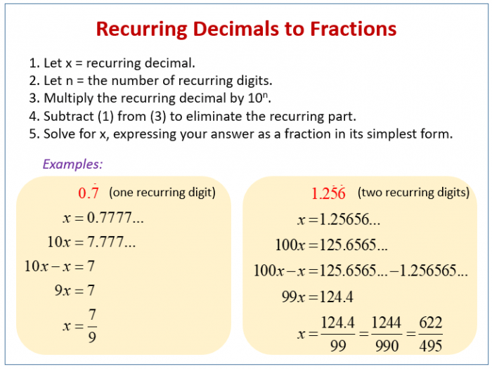 Convert Recurring Decimals To Fractions Solutions  Examples