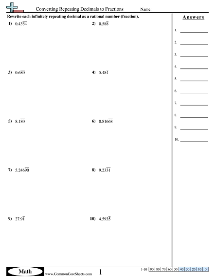 Converting Repeating Decimals To Fractions Worksheet
