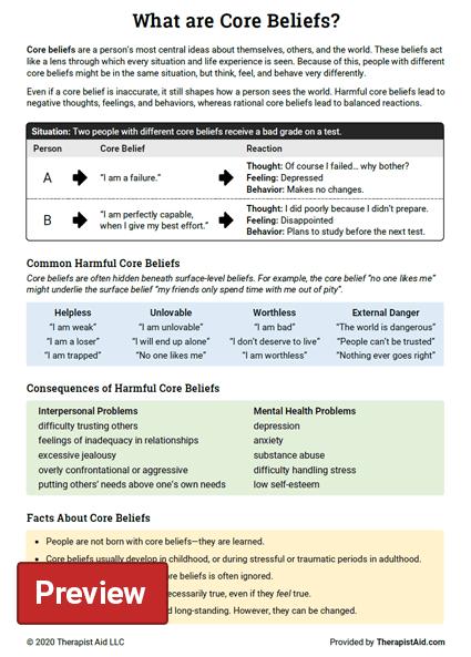 Core Beliefs Info Sheet Worksheet