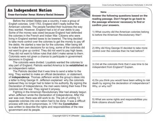 Curricular Reading Comprehension Worksheets Of Revolution Play