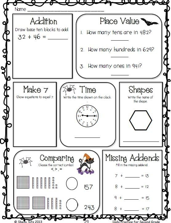 Daily Practice For Second Grade October
