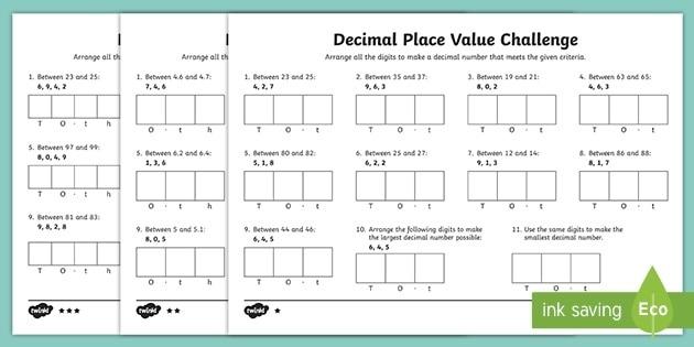 Decimal Place Value Challenge Differentiated Worksheet
