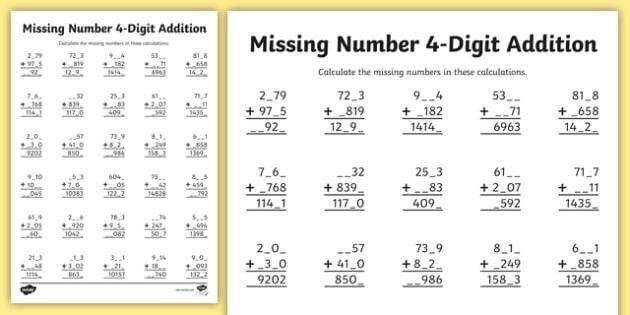 Digit Missing Number Addition Worksheet  Worksheet