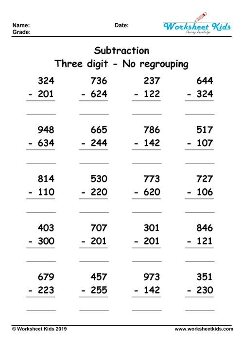 Digit Subtraction Without Regrouping Worksheets