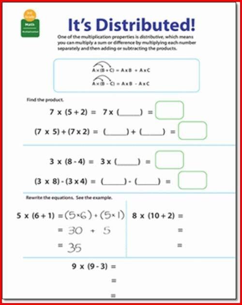 Distributive Property Of Multiplication Rd Grade