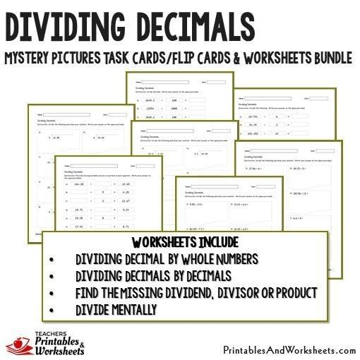Dividing Decimals Task Cards And Worksheets Bundle