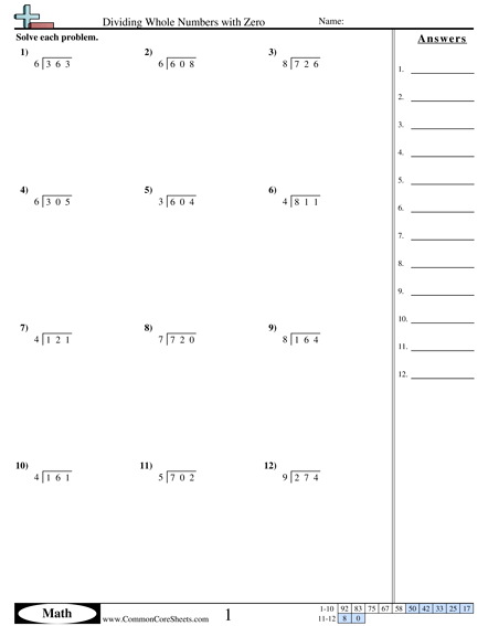Dividing Whole Numbers With Zero Worksheet