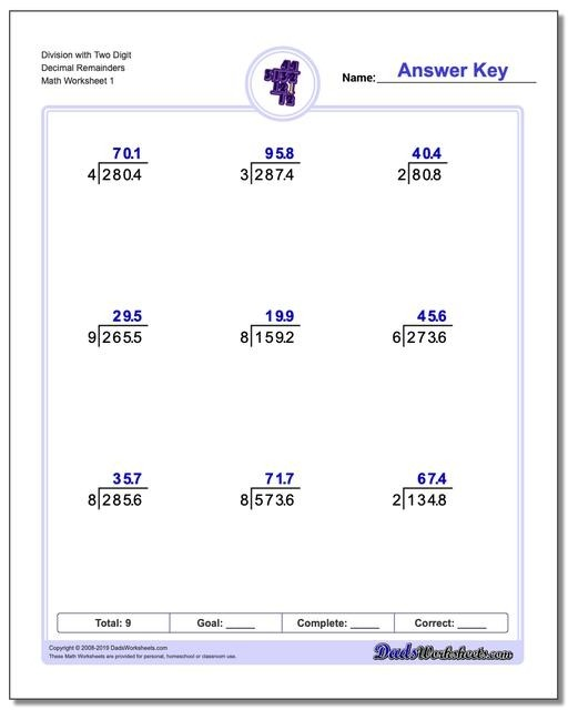 Division With Decimal Results