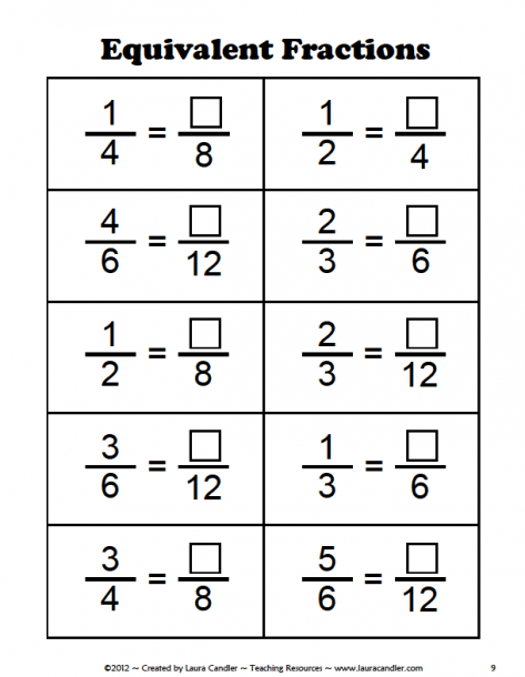 Equivalent Fractions Worksheets Th Grade