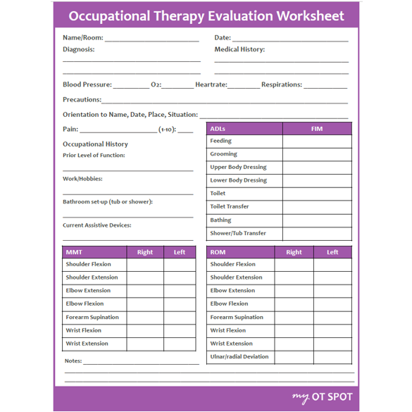 Evaluation Worksheet For Occupational Therapy