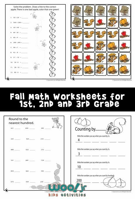 Fall Math Worksheets For St  Nd   Rd Grade