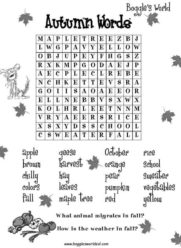 Fall Worksheets Vocabulary Autumn Wordsearcher Rules For