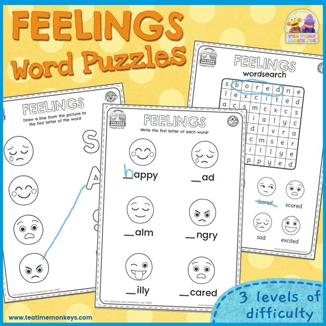 Feelings And Emotions Worksheets Word Puzzles Tea Time Monkeys