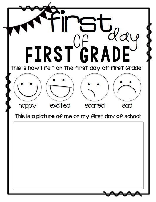 First Grade First Day Worksheets