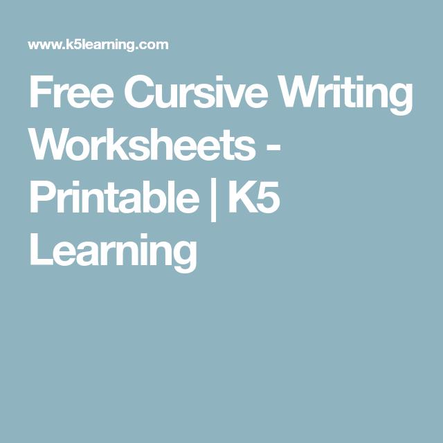 Free Cursive Writing Worksheets
