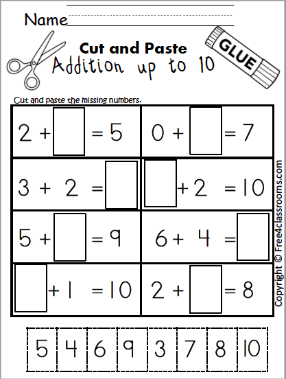 Free Cut And Paste Addition Worksheet