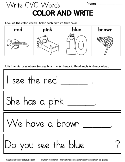 Free Cvc Word Writing Worksheet For Kindergarten