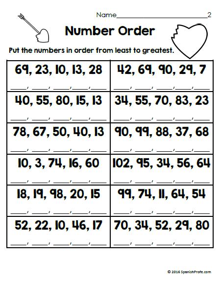 Free Math Worksheets For February Bilingual