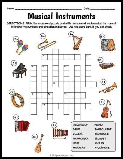 Free Printable Musical Instruments Crossword