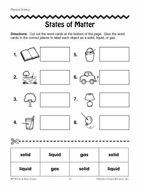 Free Printable Phases Of Matter Worksheets Click Here Science