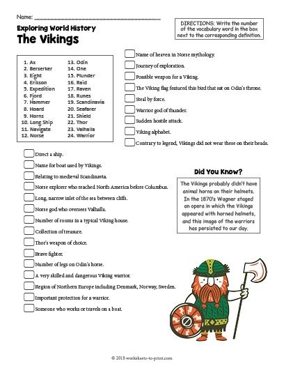 Free Printable The Vikings History Worksheet With Images World