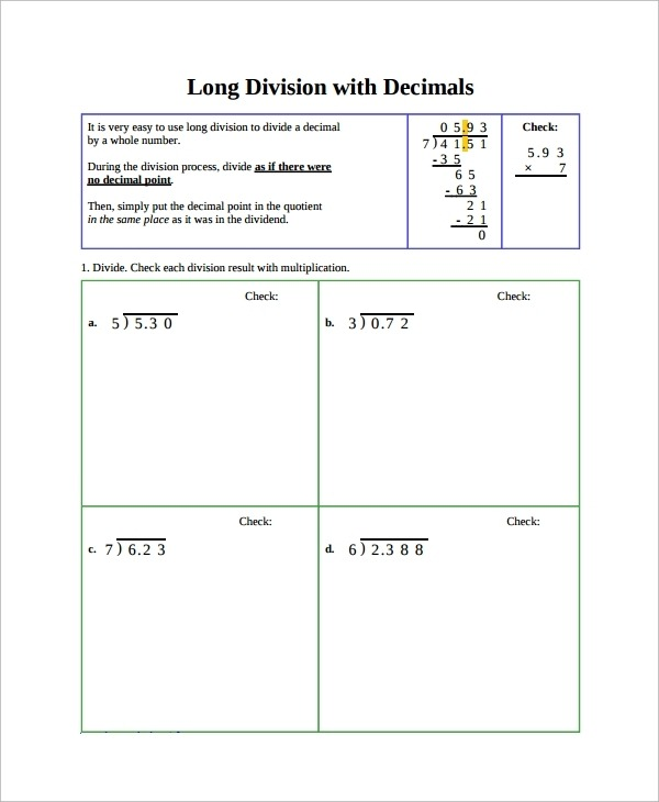 Free Sample Division Worksheet Templates In Ms Word Pdf With