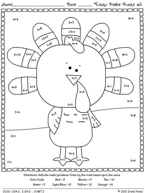 Free Thanksgiving Math Worksheets Addition For Second Grade