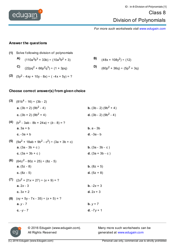 Grade  Math Worksheets And Problems Division Of Polynomials