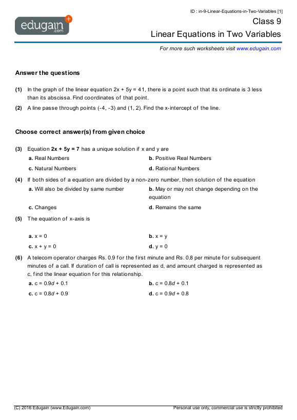 Grade  Math Worksheets And Problems Linear Equations In Two