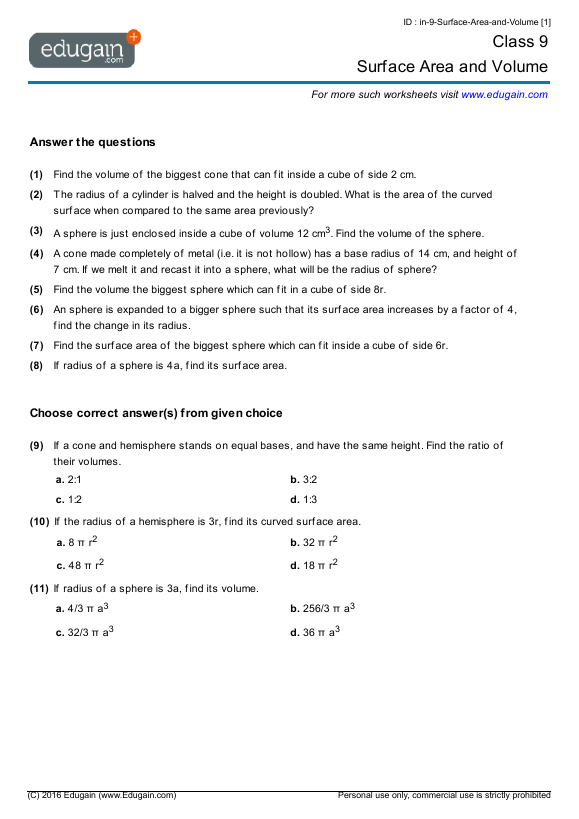 Grade  Math Worksheets And Problems Surface Area And Volume