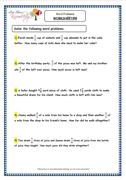 Grade  Maths Resources  Fraction Word Problems Printable
