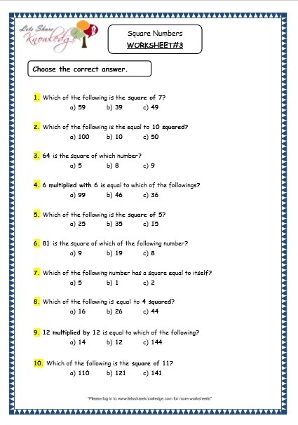 Grade  Maths Resources  Square Numbers Printable Worksheets